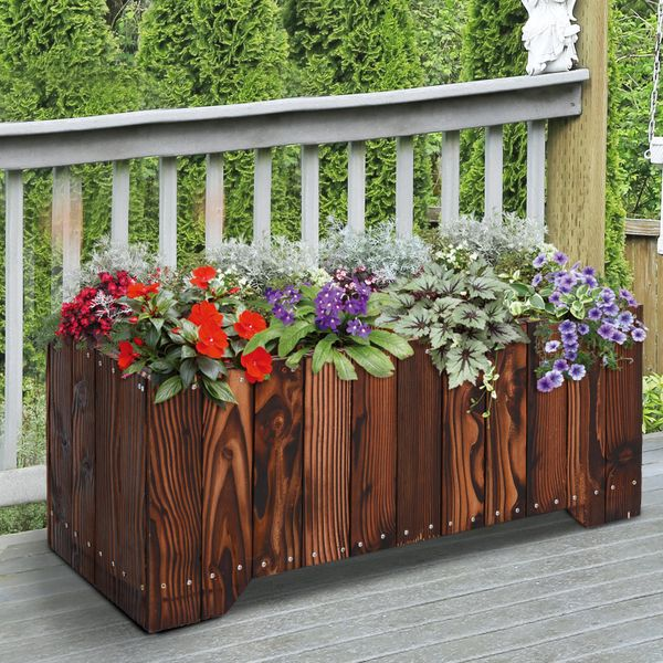 "Outsunny 37.5""x15""x15.75"" Wooden Raised Rectangular Garden Flower Bed Planter Box 