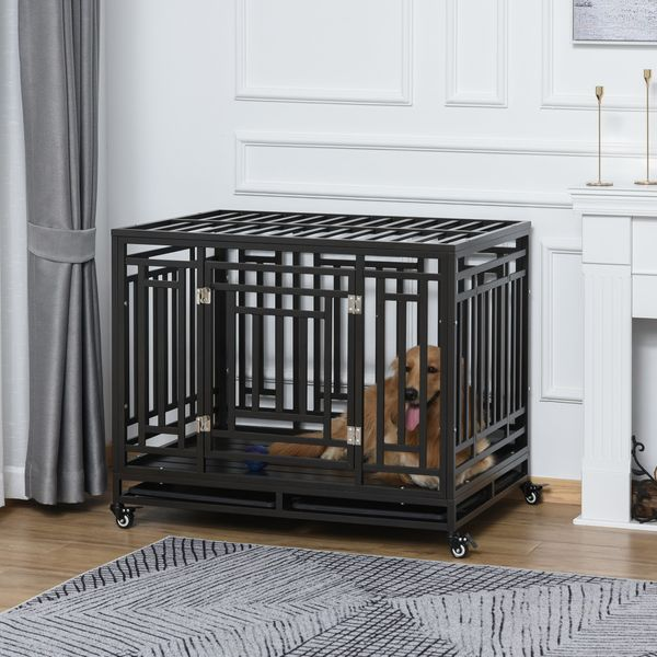 """PawHut 45"""" Heavy Duty Steel Dog Crate Kennel Pet Cage with Wheels for Portability & 1 Doors for Convenient Access Anti-Pinching Floor, Black"""