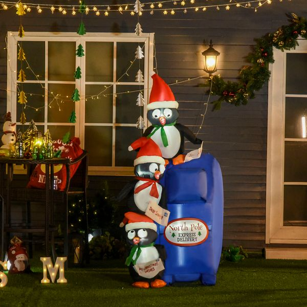 HOMCOM  6' Christmas Inflatable Penguins Mailbox Scene with LED Lights Outdoor