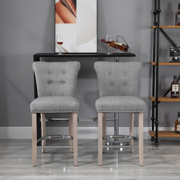 HOMCOM 2 Pieces Counter Height Bar Stools Dining Chair with Footrest Solid Wood Leg Home Pub Grey PCs w/ wood leg   Aosom Canada