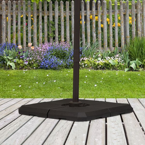 Outsunny 4 Pieces Umbrella Base Parasol Stand for Cantilever Umbrella Fill w/ Sand or Water Black | Aosom Canada
