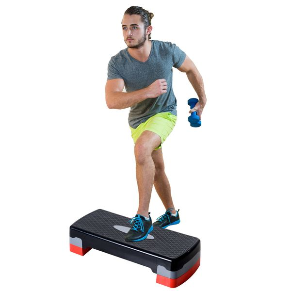 """Soozier 27"""" Aerobic Stepper Adjustable Workout Platform Fitness Step with Riser Training Exercise Home Gym 4"""" to 6""""   Aosom Canada"""