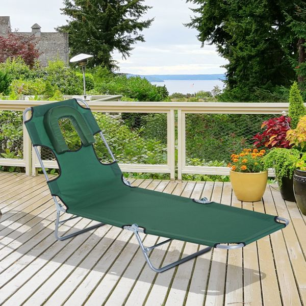 Outsunny Folding Adjustable Chaise Lounge with Face Cavity Outdoor Beach Camping Green | Aosom Canada