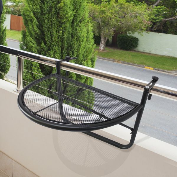 Outsunny Adjustable Balcony Hanging Rail Table Metal Mounting Mini Wall Desk Storage Rack Outdoor Flower Stand Serving Table Half Round Black | Aosom Canada