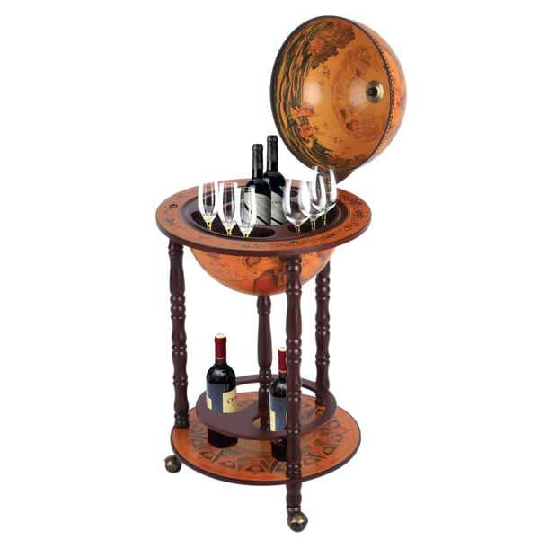 HOMCOM Globe Wine Bar Stand Bottle Shelf Holder Host Trolley w/ Wheels|AOSOM.CA