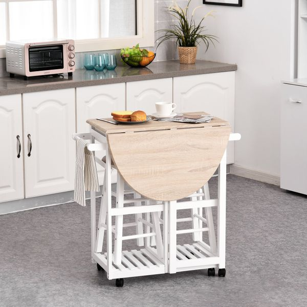 HOMCOM 3 Piece Kitchen Cart Set Drop Leaf Breakfast Table and 2 Stools with Rolling Wheels for Living Room Dorm Apartment 3PCS | Aosom Canada