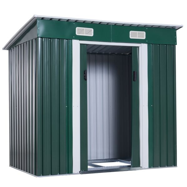 "Outsunny Metal Patio Storage Shed 77""x 48"" Yard Garden Lockable Arrow Tool House Green 