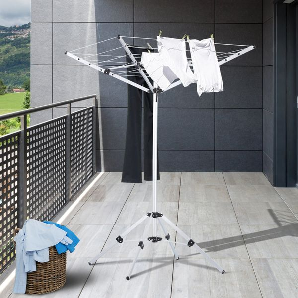 HOMCOM 52.5ft Foldable Clothes Aluminum Umbrella Shaped Drying Rack Dryer 4 Arms 20 Lines Indoor Outdoor Pre-Assembled|AOSOM.CA