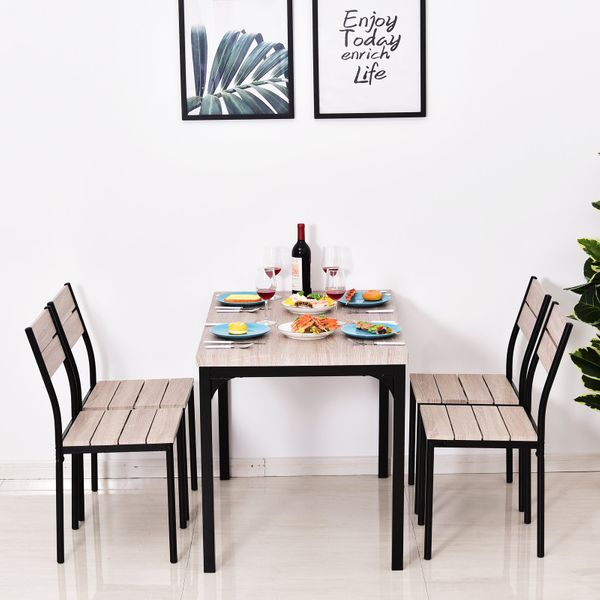 HOMCOM 5pcs Wooden Dining Set Industrial Style Wood and Metal Kitchen Table Set for 4 Chairs Modern and Sleek Dinette Aosom Canada