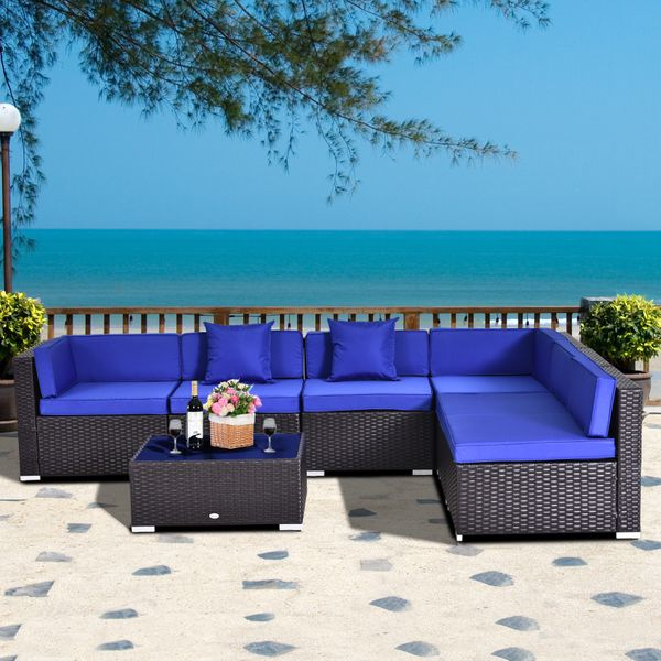 Outsunny 7pc Rattan Furniture Set w/ Side Table Patio Rattan Lounge Sofa Cushion Blue and | Aosom Canada