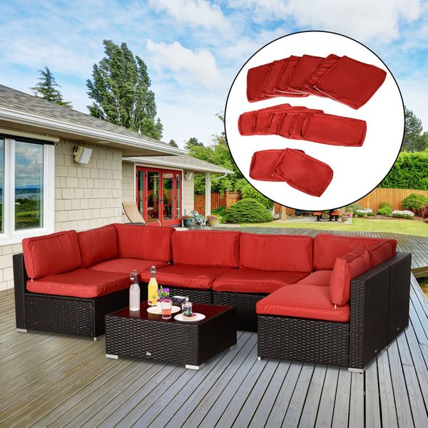 Outsunny Outdoor Patio Rattan Sofa Set, Patio Sectional Replacement Cushions Canada