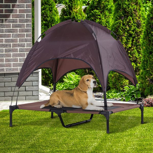 PawHut Elevated Pet Bed Dog Foldable Outdoor Cot Tent Canopy Shelter Instant Coffee | Aosom Canada