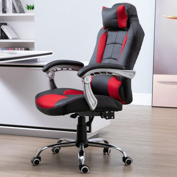 HOMCOM Ergonomic Executive Office Chair Swivel Light Racing Style Recliner PU Leather Adjustable Height Red|Aosom Canada