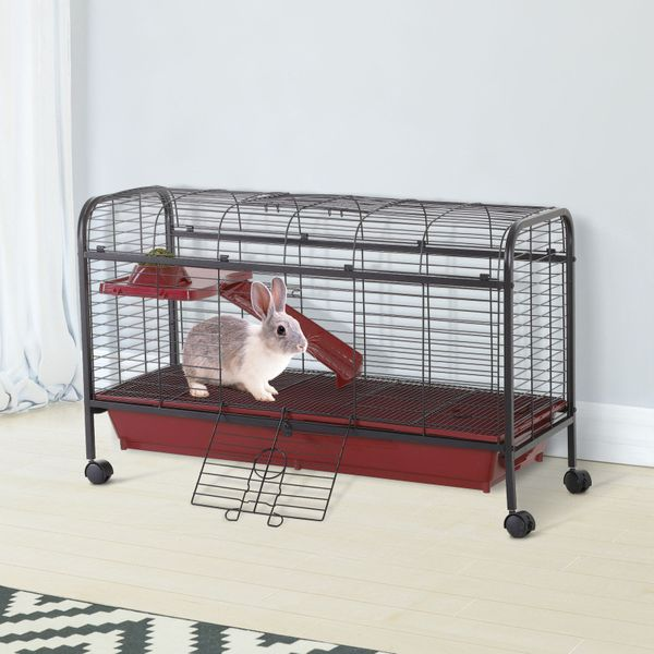 """PawHut 42"""" Metal Wire Small Animal Pet Cage with EasyWheels for Portability & Spacious Multi-Level Design Red and Black Water   Aosom Canada"""