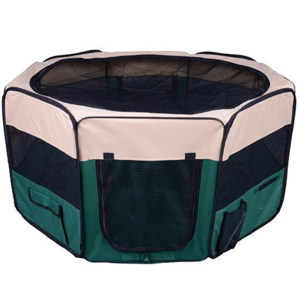 PawHut 49.2-inch Large Exercise Puppy Pet Playpen Portable Folding Easy Storage Dog Cat Play Pen Cage Tent Kennel Crate w/ Carry Bag 6 Options Green | Aosom Canada