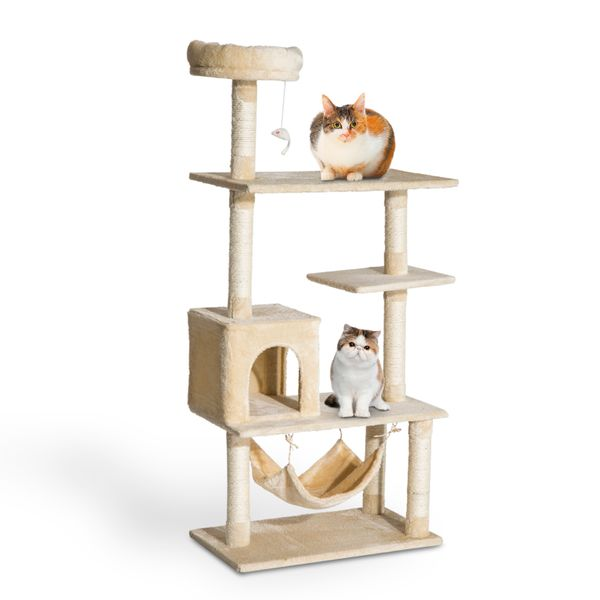 """PawHut 60"""" Cat Tree Scratching Condo Furniture Kitty Activity Center Pet House Hammock Multi-Scratcher with Hanging Toy Beige 