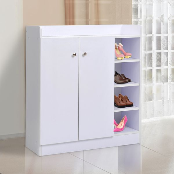 HOMCOM Wooden Shoe Cabinet Storage Rack Space Saving Organizer 2 Doors and Open Shelf Combine with Display Top Entryway White | Aosom Canada