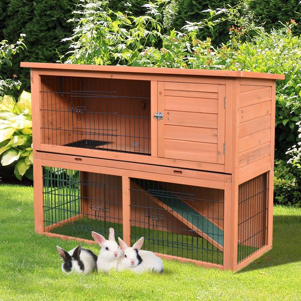 "PawHut 48"" Wooden Rabbit Hutch Small Animal House 2 Story Backyard with Outdoor Run & Tray