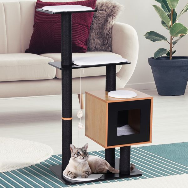 PawHut Cat Tree Tower with Condo Sisal Scratching Post and Washable Mat Pet Furniture Kitty Activity Center Black|AOSOM.CA
