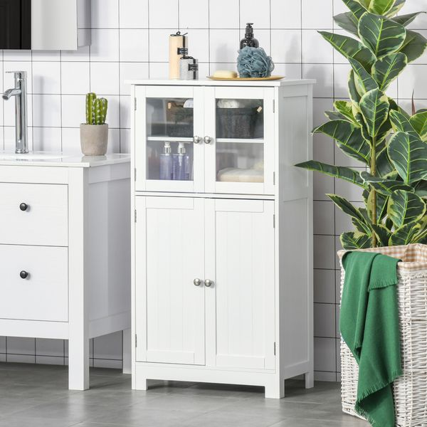 kleankin Bathroom Floor Storage Cabinet with Tempered Glass Doors and Adjustable Shelf, Kitchen Cupboard, Free Standing Organizer for Living Room Entryway, White