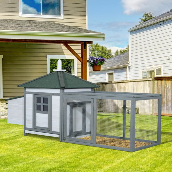 PawHut Deluxe Large Chicken Coop 77x29x39Inch Outdoor Garden Patio Poultry Hen Wooden House Backyard Small Animal Pet Cage Hutch with Nesting Box Green | Aosom Canada