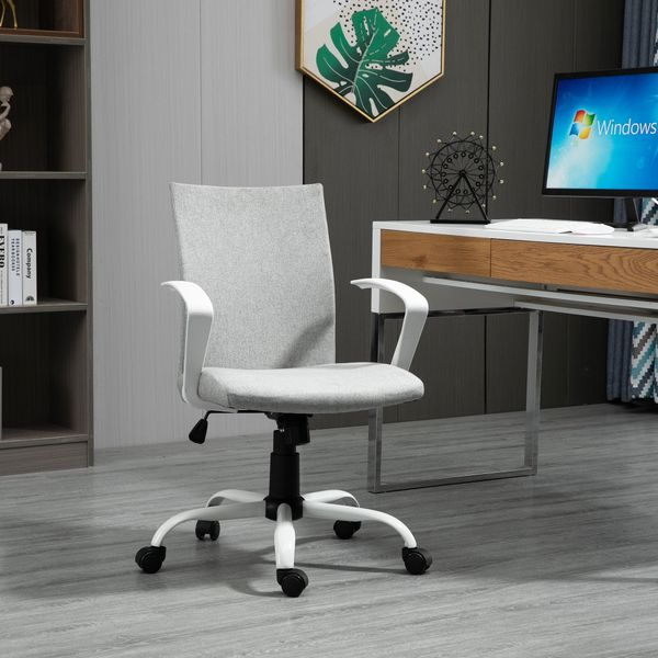 Vinsetto Office Chair Linen Swivel Computer Desk Office Chair Study Task Chair with Wheels, Arm, Light Grey