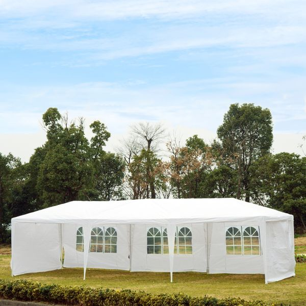 Outsunny Tent 10X30ft Gazebo Canopy Party Tent Outdoor Event Sunshade Portable Shelter with 5 Removable Sidewalls White |Aosom Canada