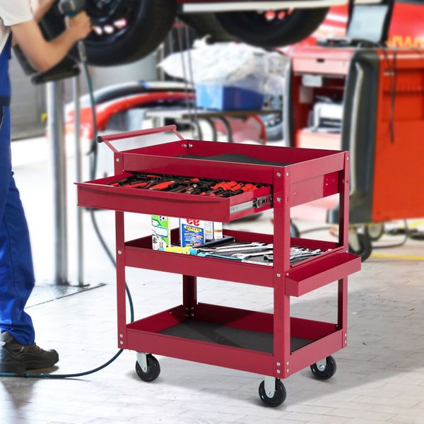 HOMCOM Rolling Tool Cart 3 Tray 1 Drawer Storage Chest Garage Utility Red|Aosom Canada
