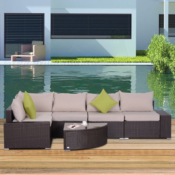 Outsunny 6pcs Outdoor Patio Furniture Set All Weather Wicker Rattan Conversation  Coffee Table Sofa Chair