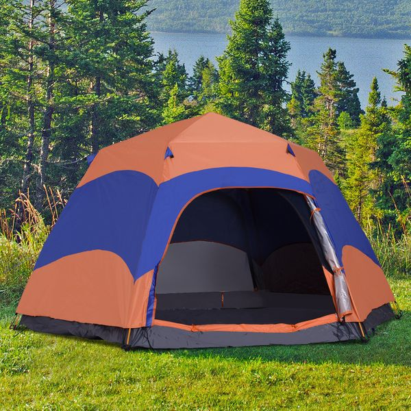 Outsunny 5-6 people Hexagon Double Layer Camping Tent Portable Easy Pop Up|AOSOM.CA