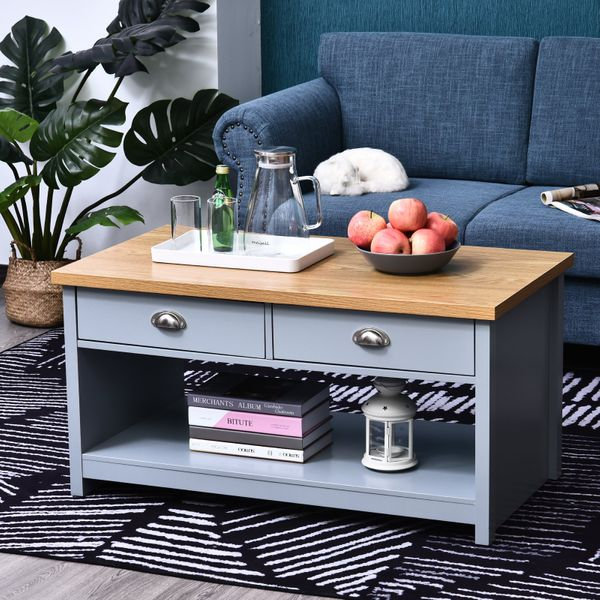 HOMCOM Coffee Table with Storage Shelf and Drawers Vintage | Aosom Canada