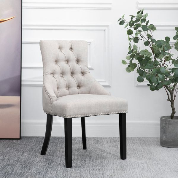 HOMCOM Swoop Air Dining Chair with Nailhead Trim and Ring Back Linen Fabric Wood Legs|AOSOM.CA