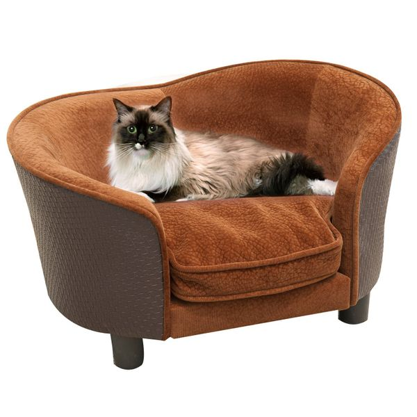 PawHut Rattan Style Pet Dog Cat Sofa Pet Bed Warm Dog Bed Chair with Removable Washable Cushion|Aosom Canada