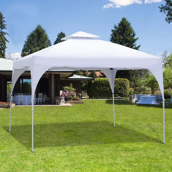 Outsunny 10'x10' Pop-Up Canopy Tent Vented Roof w/ Carry Bag White Aosom Canada