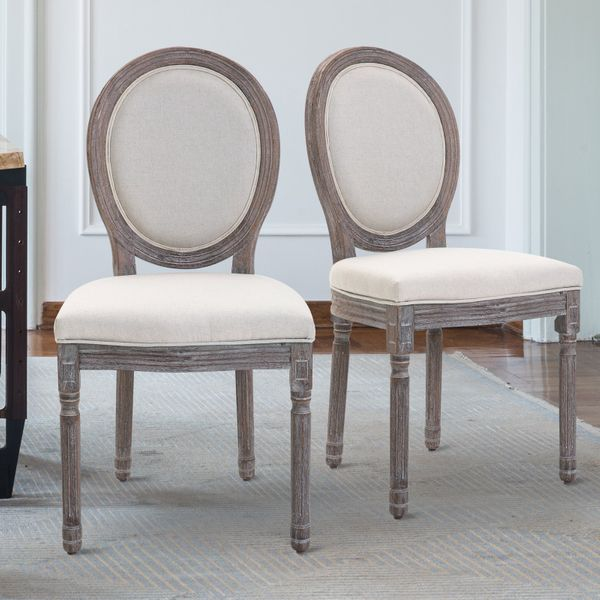 HOMCOM Armless French Chic Dining Chair with Curved Backrest and Linen Upholstery Set of 2 Ivory Back for Home   Aosom Canada