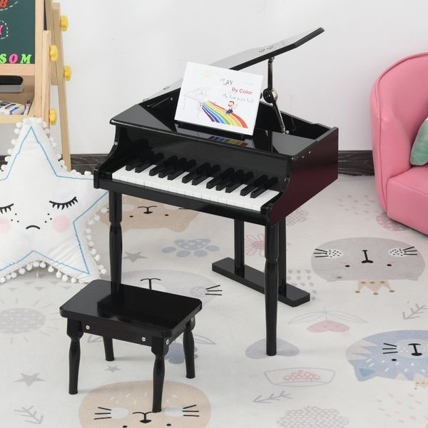 HOMCOM 30 Keys Mini Kids Piano for Child with Music Stand and Bench Best Gifts Toy