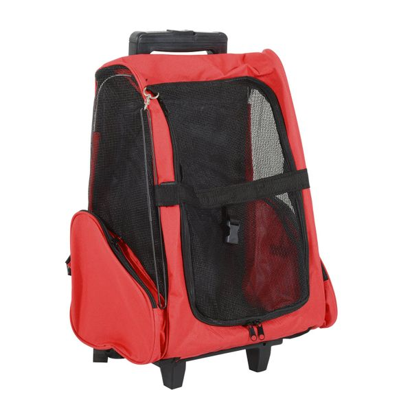 PawHut Rolling Wheel with Removable Support Pet Carriers,Soft Sided Collapsible Pet Travel Carrier for Medium Puppy and Cats, Red | Aosom Canada