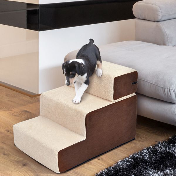 PawHut Easy Step Ultralight Portable Removable Pet Stairs Soft for Cats and Dogs with Washable Cover 2 & 3 Steps in 1 Design|Aosom Canada