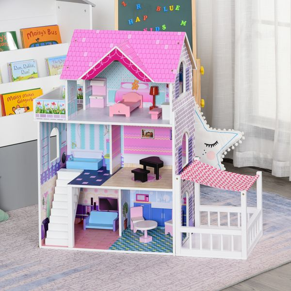 Qaba Kids Wooden Dollhouse Dreamhouse Villa with Patio Dollhouse with Furniture Accessories Kit for Toddler Girls Multi-level House for Children Pink Set   Aosom Canada