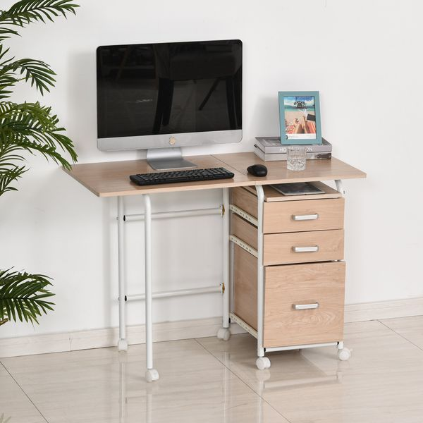 HOMCOM Foldable Spacious Computer Desk  Executive Study Desk Student Table with 3 Drawers & Wheels  Workstation  Home Office Folding on w/|Aosom Canada