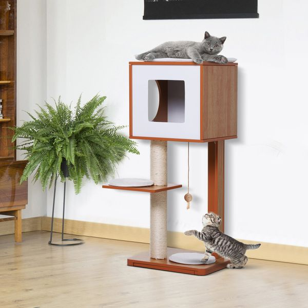 PawHut Cat Furniture Kitten House Cat Scratcher w/ Scratching Post Condo Activity Center and Cushion|AOSOM.CA