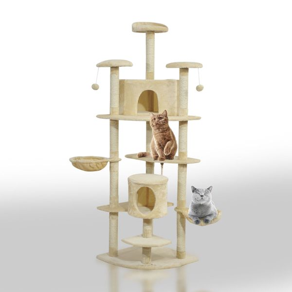 Pawhut 79Inch Cat Tree Scratching Kitten Tree Condo Kitten Scratch Activity Center Pet House Post Play Tower with Toys Beige|Aosom Canada