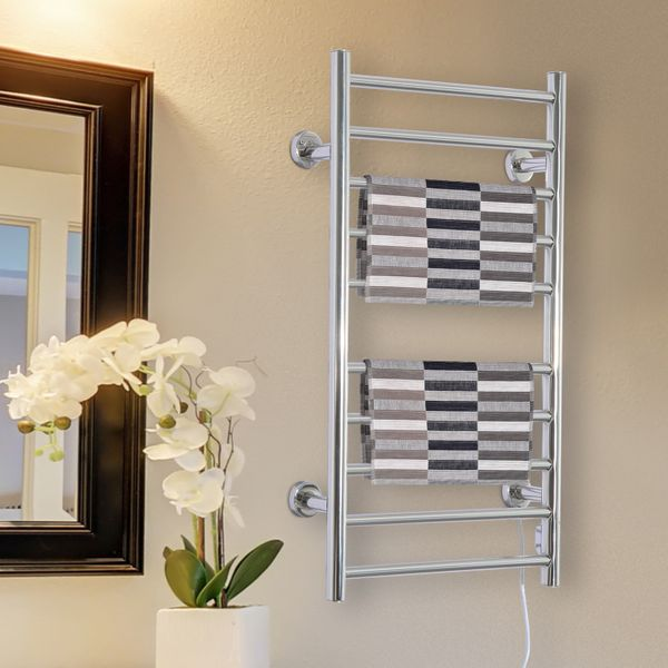 "HOMCOM 10-Bar Towel Warmer Wall Mounted Electric Heated Shelf Stainless Steel Home Bathroom Towel Drying Rack, ( 20.9""W x 4.1""D x 34.3""H )