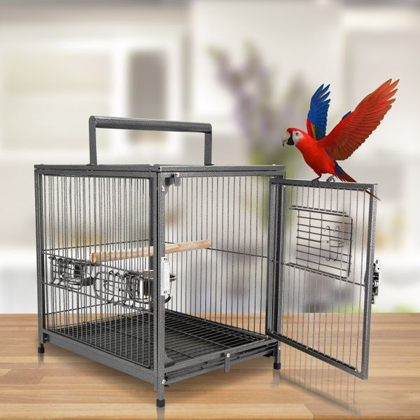 """PawHut 22"""" Bird Carrier Cage Parrot Macaw Travel Cage Portable Elevated Aviary House with Feeding Bowls 