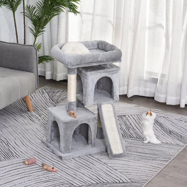 PawHut Plush Cat Tree Tower Activity Center with Sisal Scratching Post Scratching Board Perch Condo Light Grey w/ | Aosom Canada