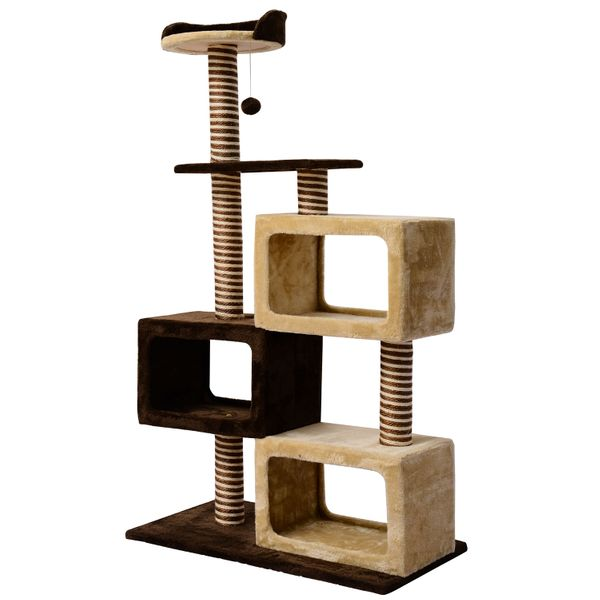 PawHut 51-inch Multi-Level Cat Tree Kitten Scratcher Post with 3 Condos Cat Play House Activity Centre w/Toy | aosom.ca