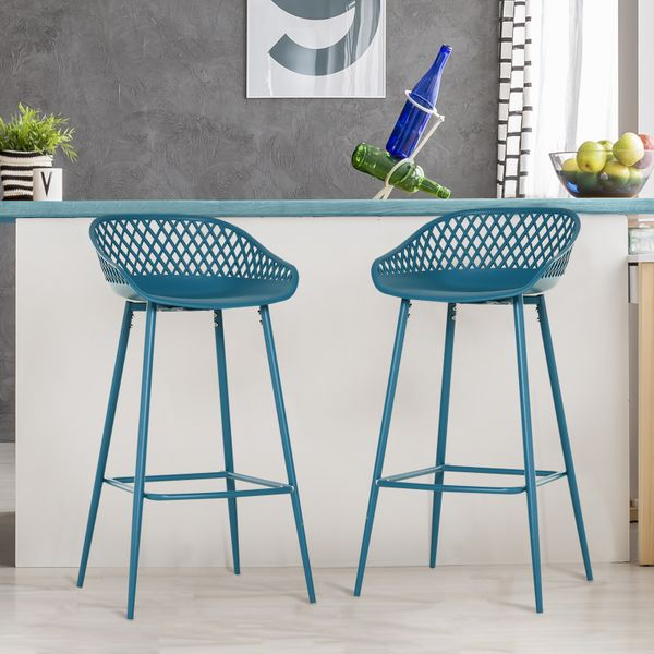 HOMCOM Vintage Bar Stools with Back Rest Counter Height Metal Chairs with Footrest Indoors & Outdoors Set of 2 Blue Pieces Pub | Aosom Canada