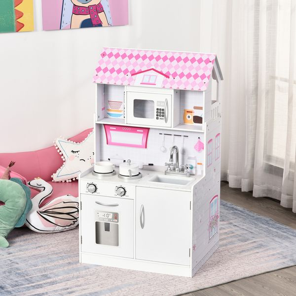 Qaba 2 in 1 Multifunctional Kids kitchen Doll House Toddler Pretend Play Toy Kitchen with Accessories Realistic Play Cooking Set Pink | Aosom Canada