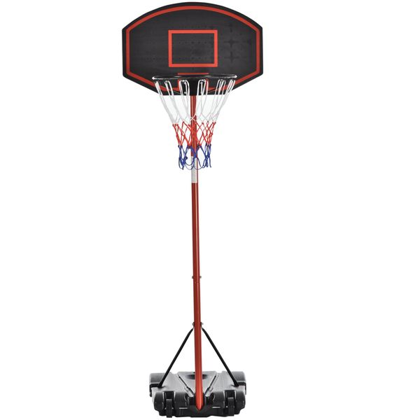 Soozier Basketball Stand Adjustable Basketball Hoop Backboard  w/ Wheels For Kids Adults|AOSOM.CA