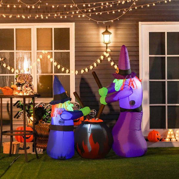 HOMCOM Outdoor Yard Colorful 6ft Blow Up Inflatable Halloween Two Old Witch and Magical Potions Decoration with LED for Indoor Outdoor House Party Display 2   Aosom Canada